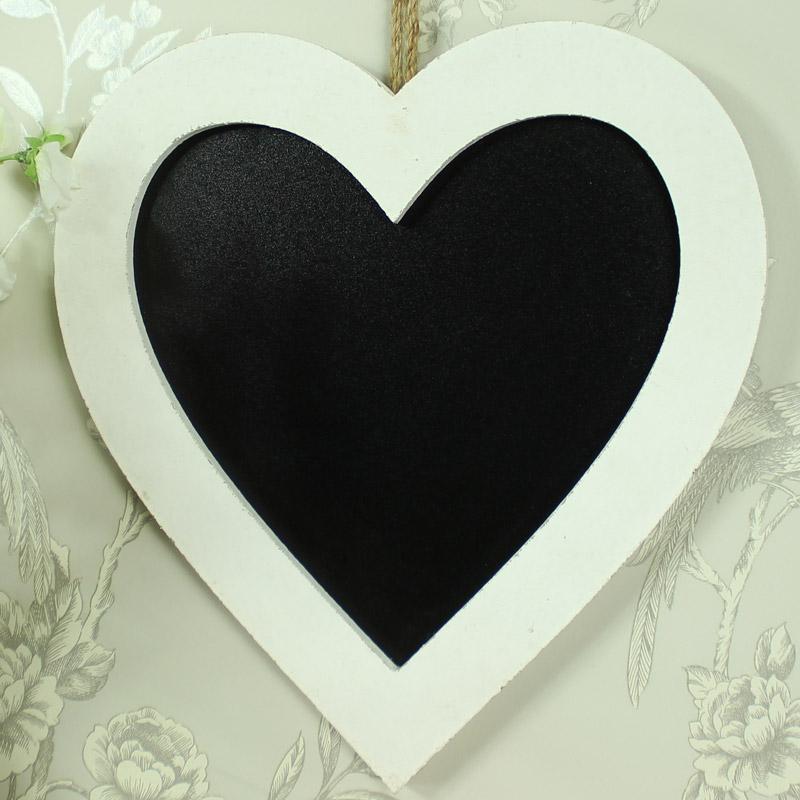 Small White Wooden Framed Love Heart Chalkboard - Melody