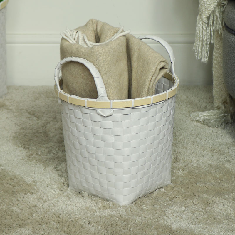 Small White Woven Waste Paper Basket