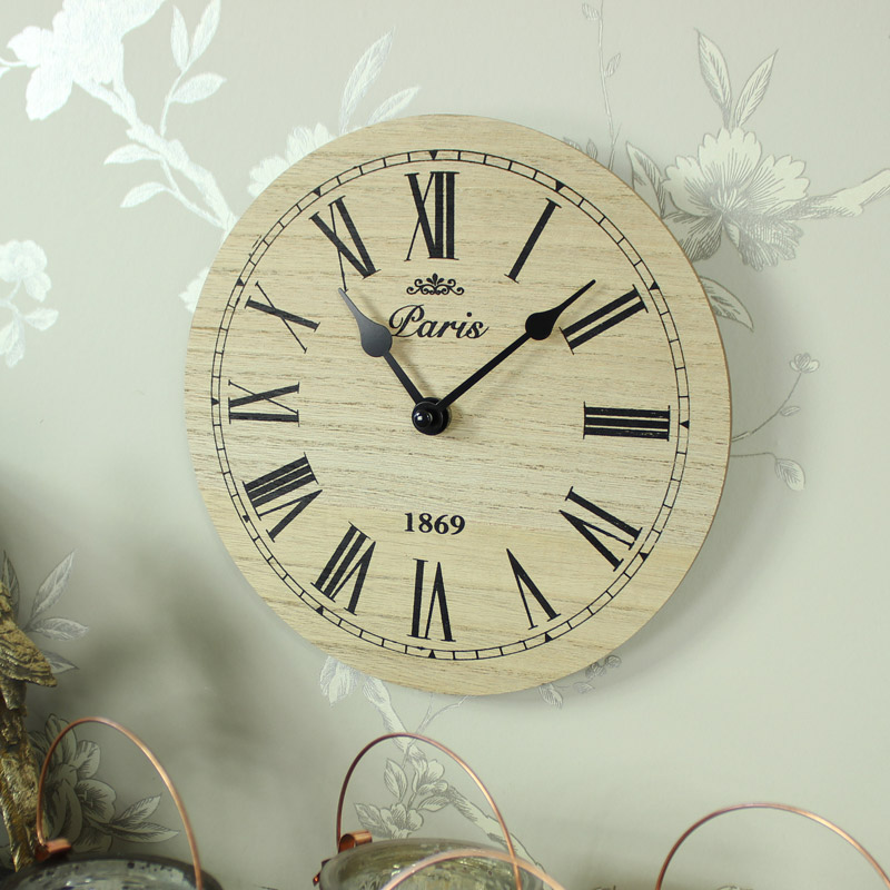Small Wooden Black Wall Clock Paris Vintage Chic Kitchen Office