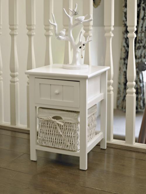 white one drawer storage cabinet with wicker basket shabby unit chic