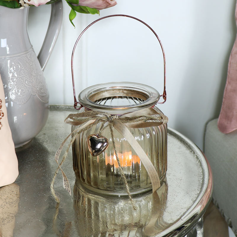 Smoked Glass with heart Jar Candle Holder