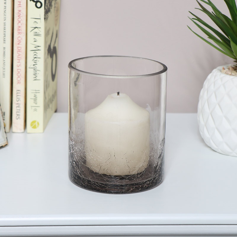 Smoked Grey Crackle Glazed Glass Candle Holder