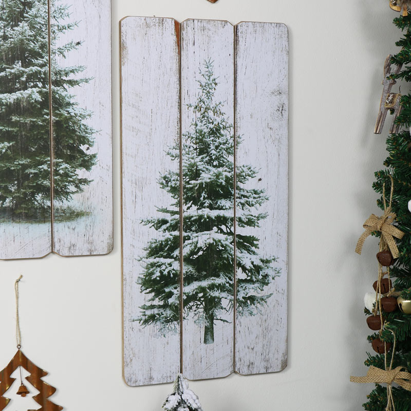 Snowy Christmas Fir Tree Wooden Wall Plaque