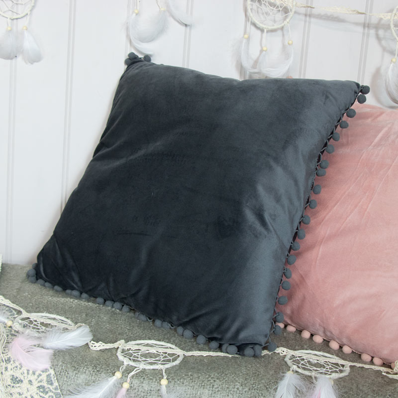 Soft Grey Velvet Pompom Cushion