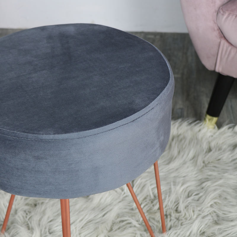 Soft Grey Velvet Stool