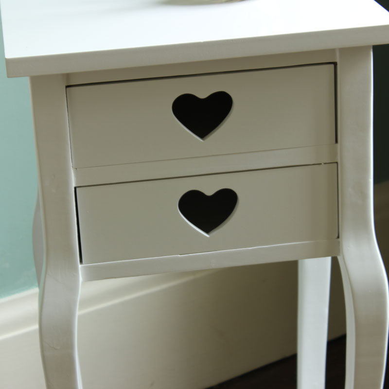 white two drawer bedside table heart cabinet storage lamp