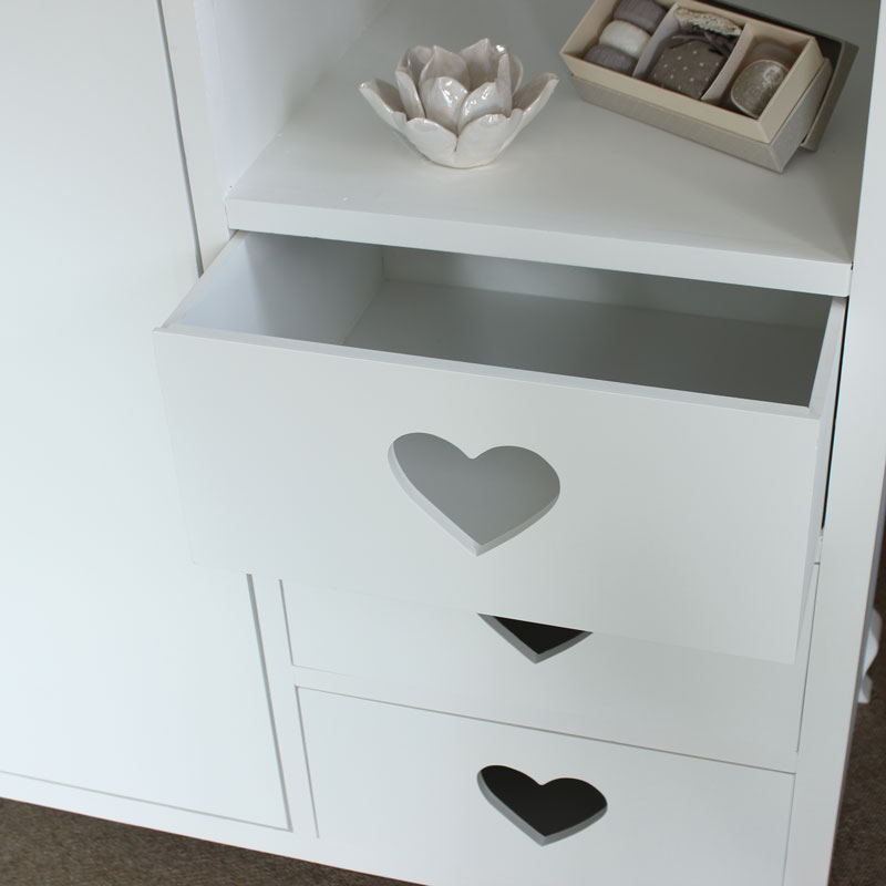Heart wardrobe white closet childrens wood girls bedroom - White heart bedroom furniture ...