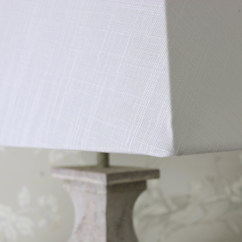 Square Antique White Table Lamp