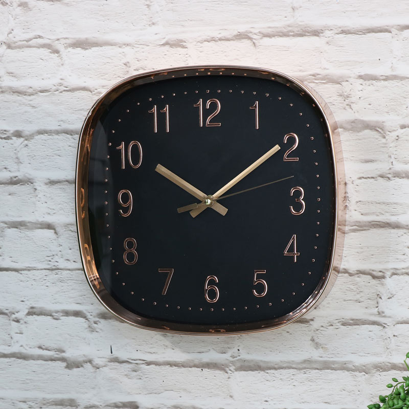 Square Copper Embossed Black Wall Clock