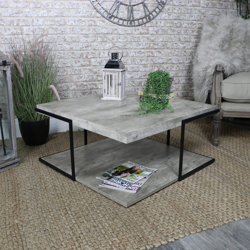Square Industrial Concrete Style Coffee Table Melody Maison