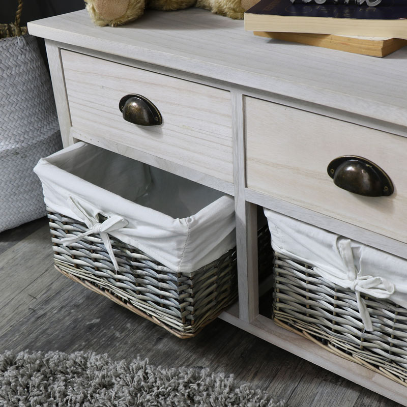 Two Drawer With Wicker Baskets Storage Bench Vintage