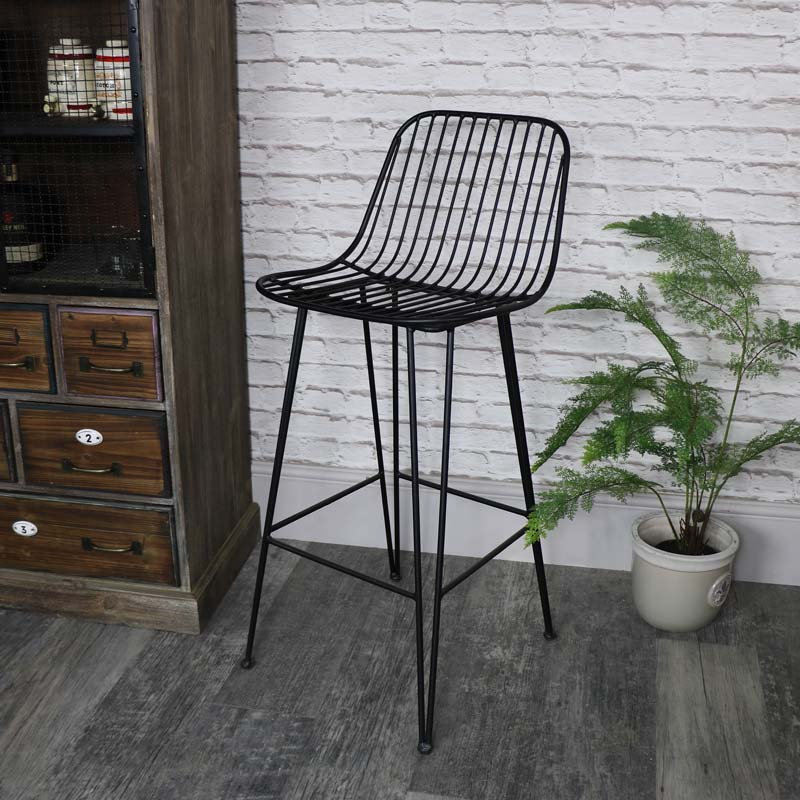 tall black metal wire bar stool melody maison