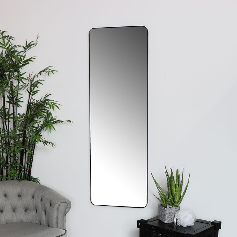 Tall Black Wall Floor Leaner Mirror, Full Length Mirror Black Metal Frame