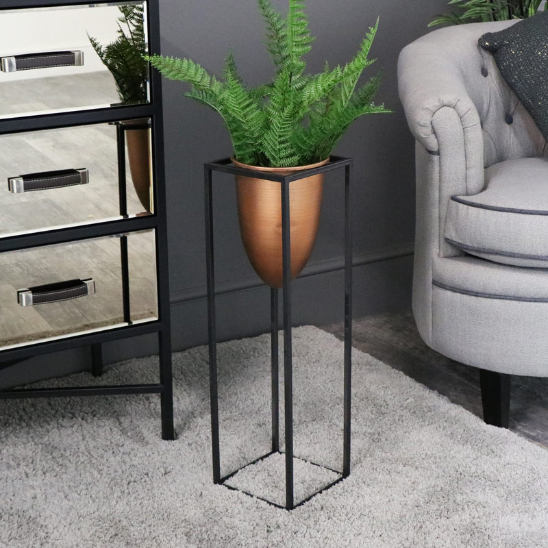 Tall Copper Bullet Plant Stand