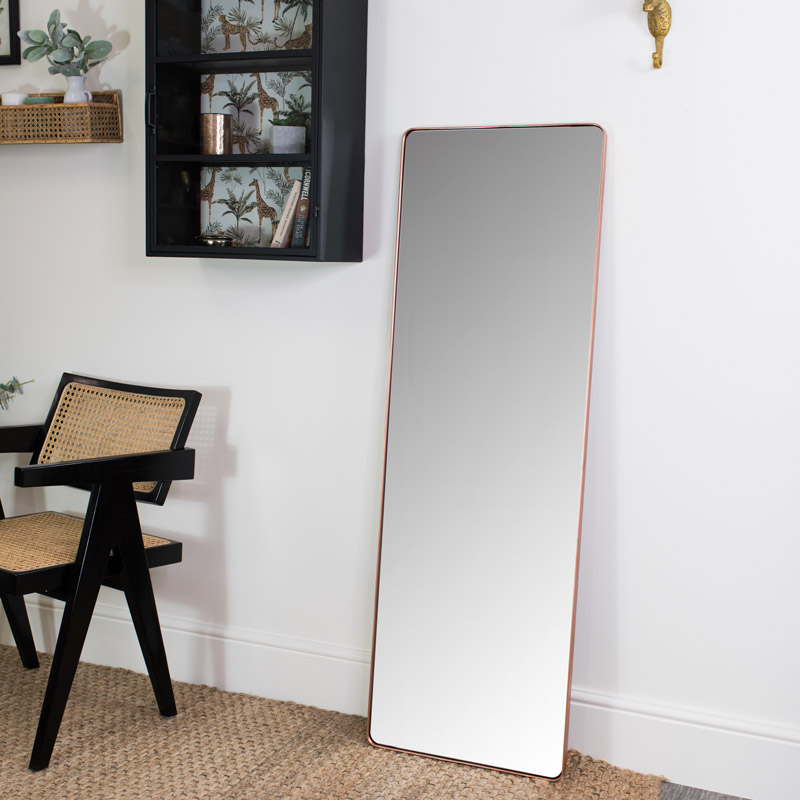 Tall Copper Wall Floor Leaner, Wall Leaning Full Length Mirror