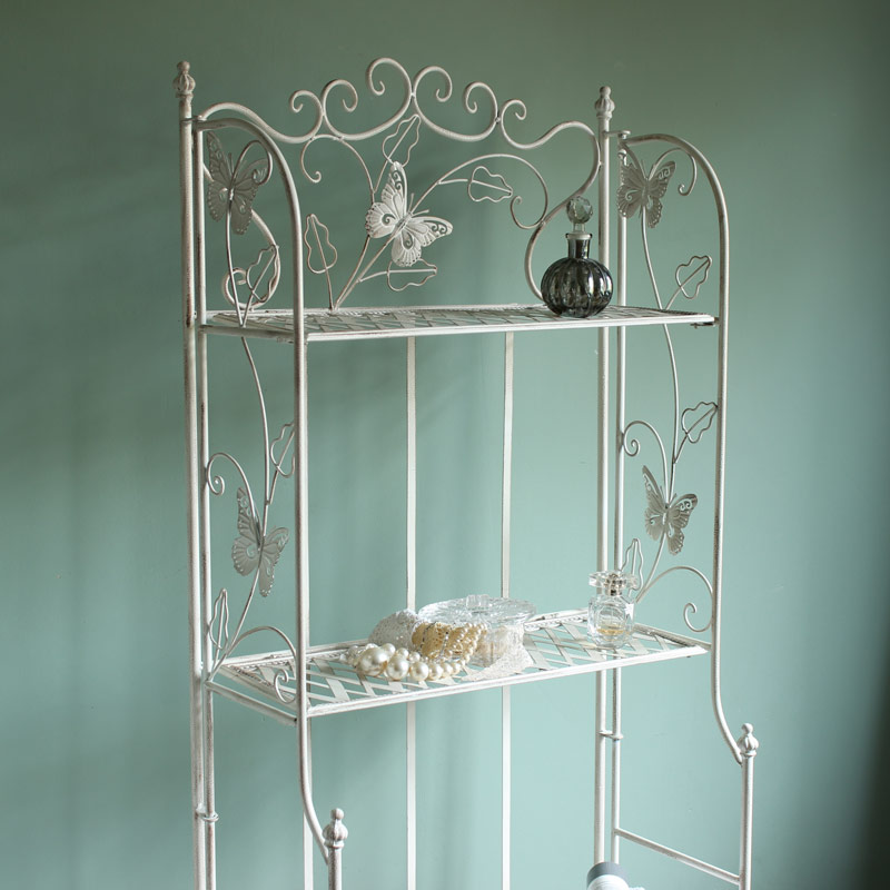 Cream butterfly metal shelf unit four tier tall storage for Metal bathroom shelving unit