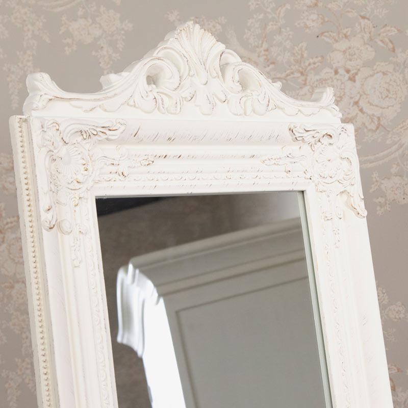 Tall Cream Cheval Mirror 179cm x 44cm