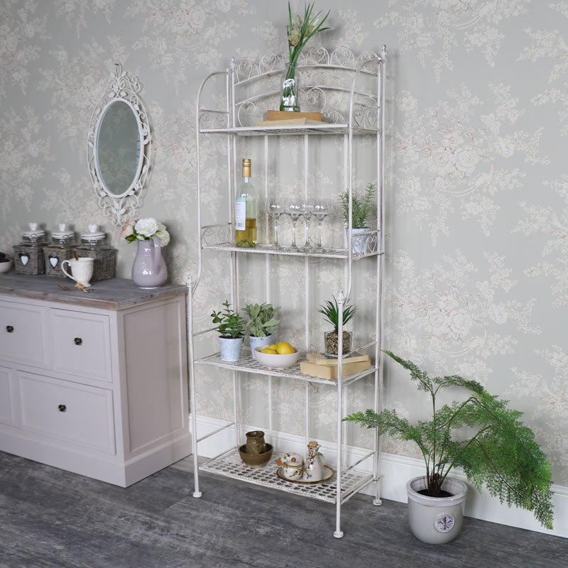 Tall Cream Metal 4 Tier Shelving Unit