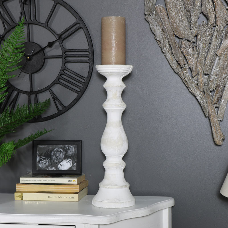 Tall Cream Stone Candle Stand