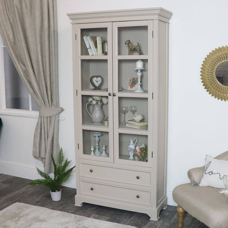 Tall Glass Display Cabinet - Daventry Taupe-Grey Range
