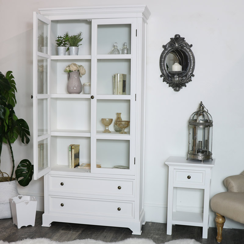 Tall Glazed Display Cabinet - Daventry White Range