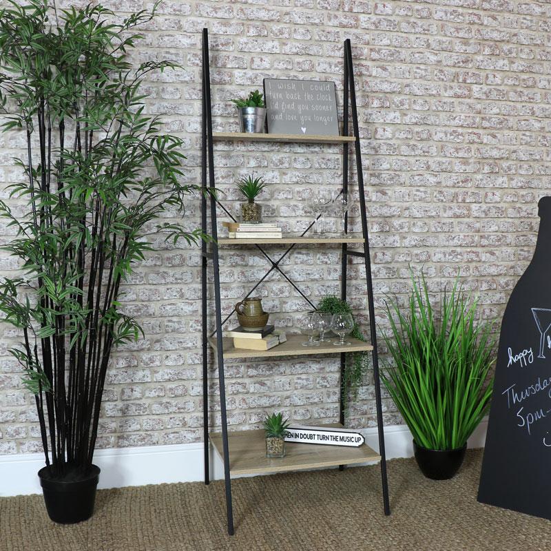 Tall Ladder Bookcase Shelf Unit