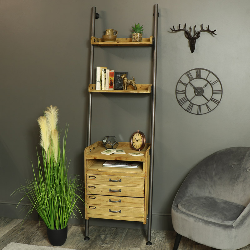 online store 07893 194b7 Tall Ladder Style Shelving Unit with Drawers and Pull Out Table