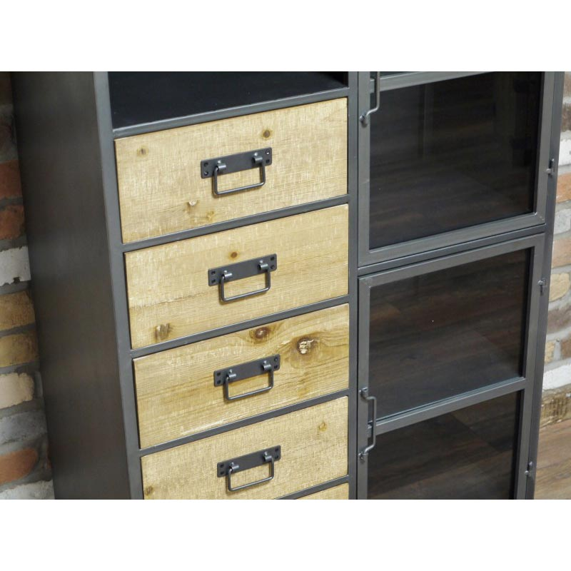 Tall Metal Industrial Style Storage Cabinet Tall Metal Industrial Style  Storage Cabinet ...
