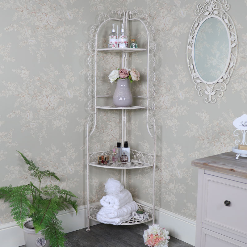 Tall Ornate Cream Metal 4 Tier Corner Shelving Unit