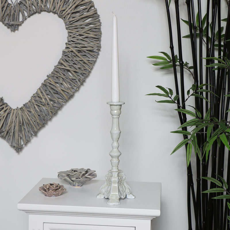 Tall Ornate Grey Embossed Candlestick