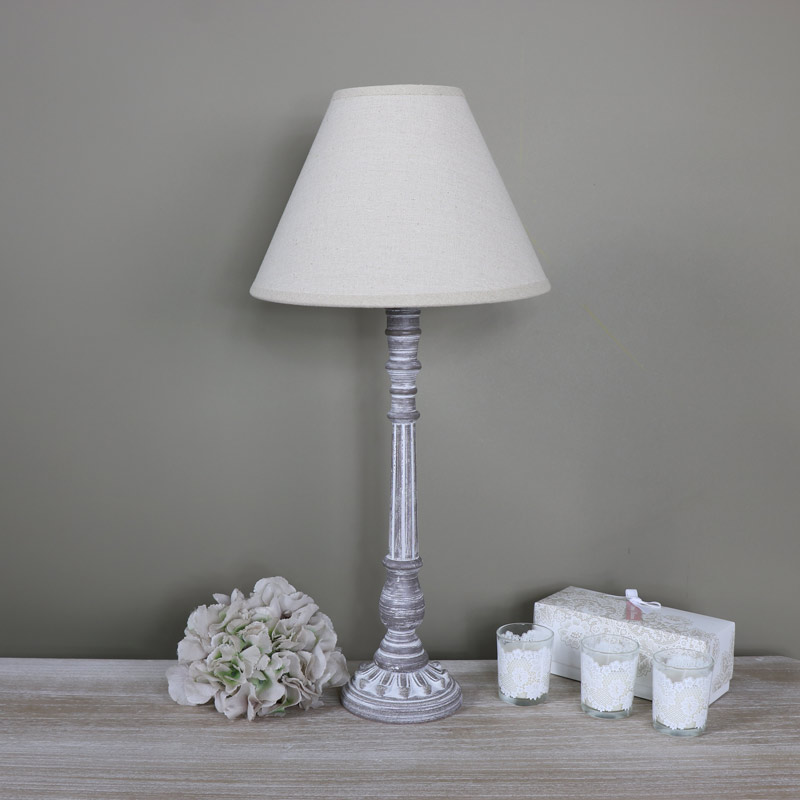 Tall ornate vintage brown white washed wooden table lamp for Vintage wooden table lamps