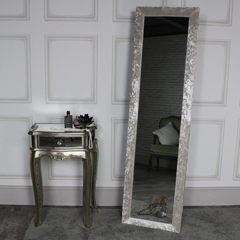 Tall Silver Crushed Velvet Cheval Mirror
