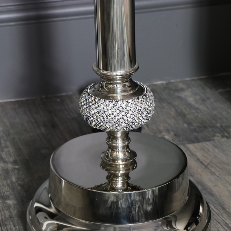 Tall Polished Silver Diamante Floor Lamp with Glitter Shade