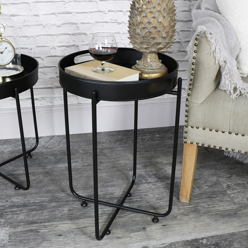 Perfect Round Black Tray Side Table
