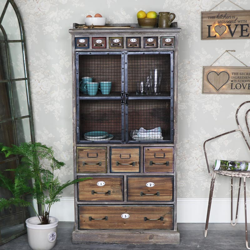 Exceptionnel Tall Rustic Industrial Apothecary Cabinet ...