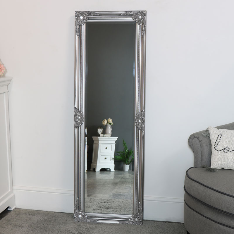 Tall Silver Mirror with Bevelled Glass 47cm x 142cm