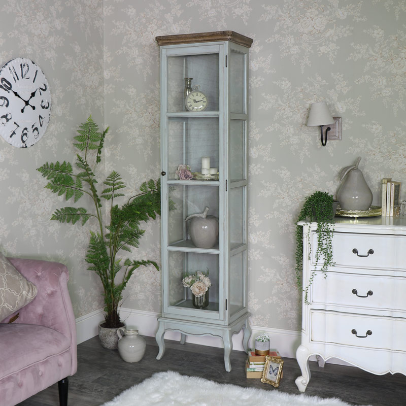 Tall Slim Glazed Display Cabinet