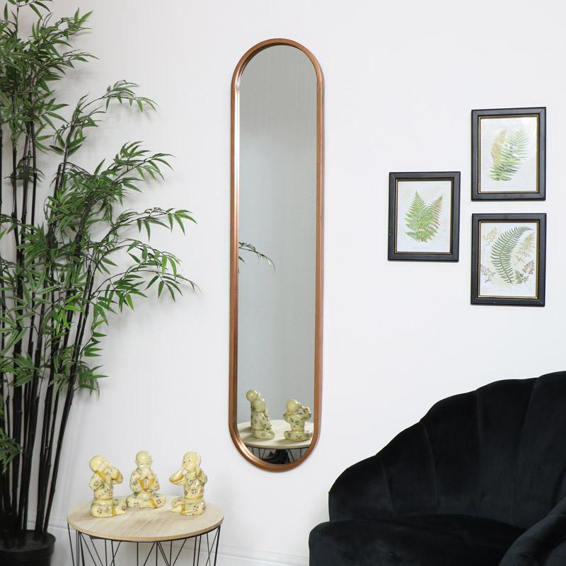 Tall Slim Gold Oval Mirror, Full Length Oval Wall Mirror