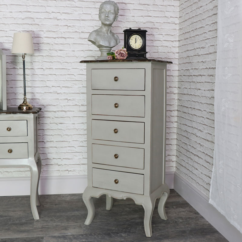 Tall Vintage Grey Tallboy Chest Of Drawers Leadbury