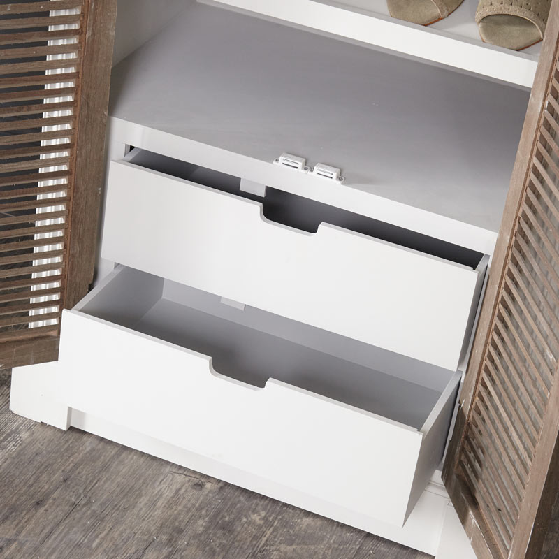 Tall White Shoe Cupboard Storage Unit - Fearn Range