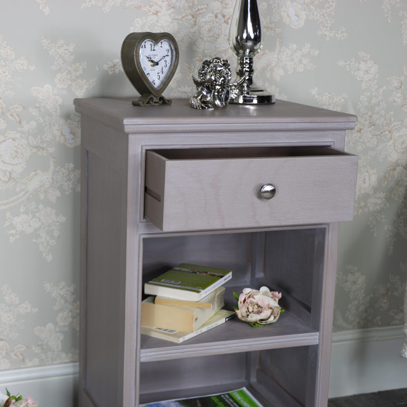 Cambridge Cabinet Door Style: Taupe 1 Drawer Bedside Cabinet