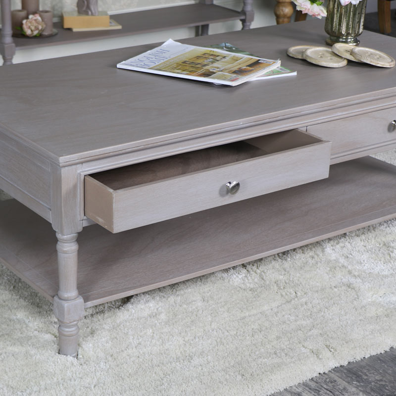 Taupe 4 Drawer Coffee Table - Cambridge Range
