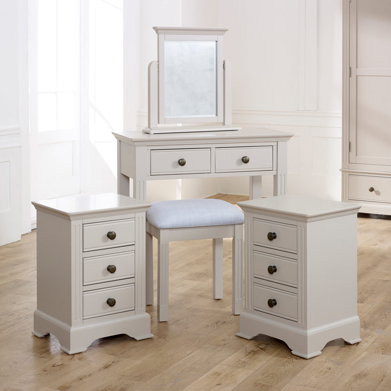 Taupe-Grey Bedroom Dressing Table Set & Pair of Bedside Tables - Davenport Taupe-Grey Range