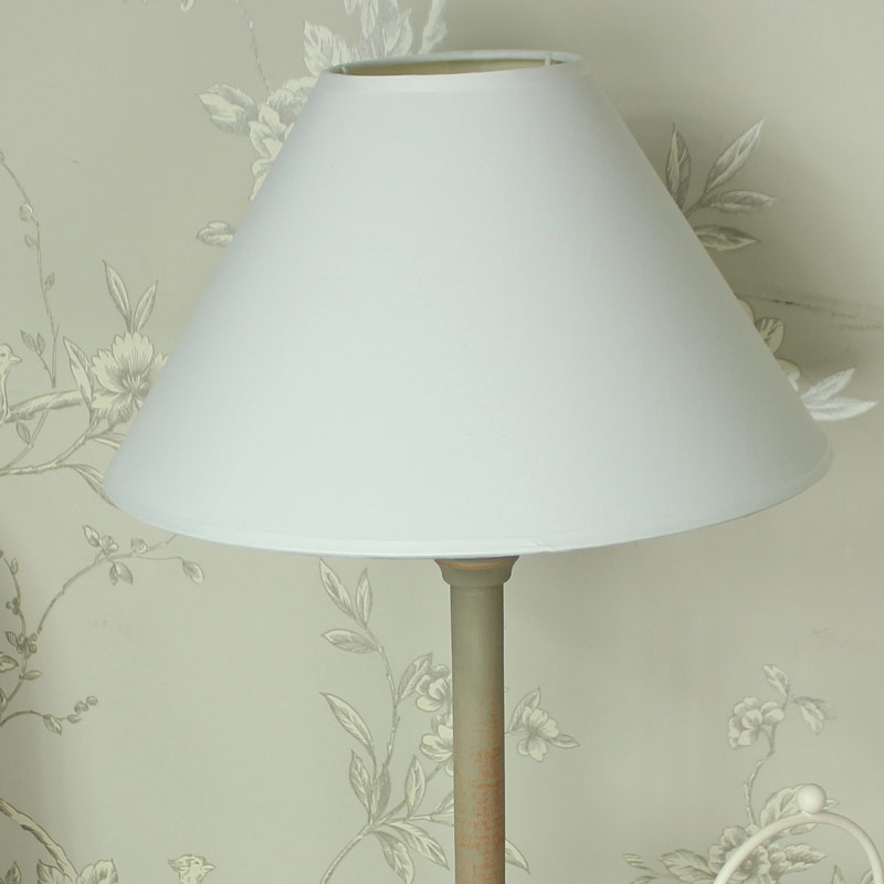 taupe wooden table lamp with white linen shade melody maison. Black Bedroom Furniture Sets. Home Design Ideas