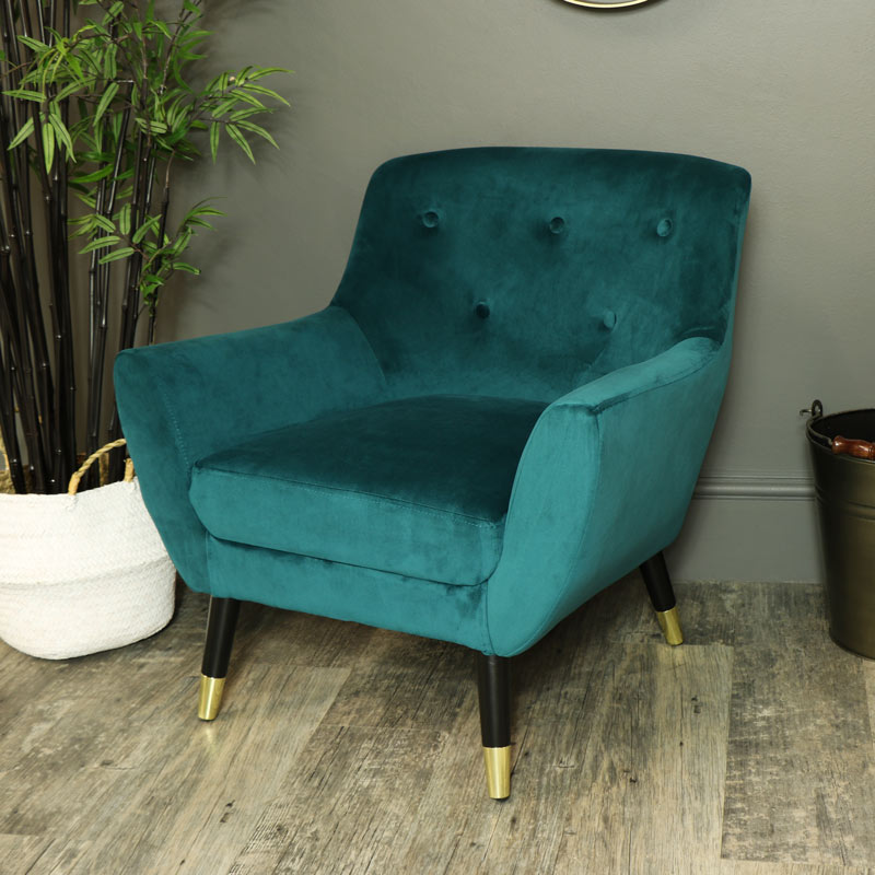 Teal Blue Velvet Upholstered Occasional Chair Melody Maison
