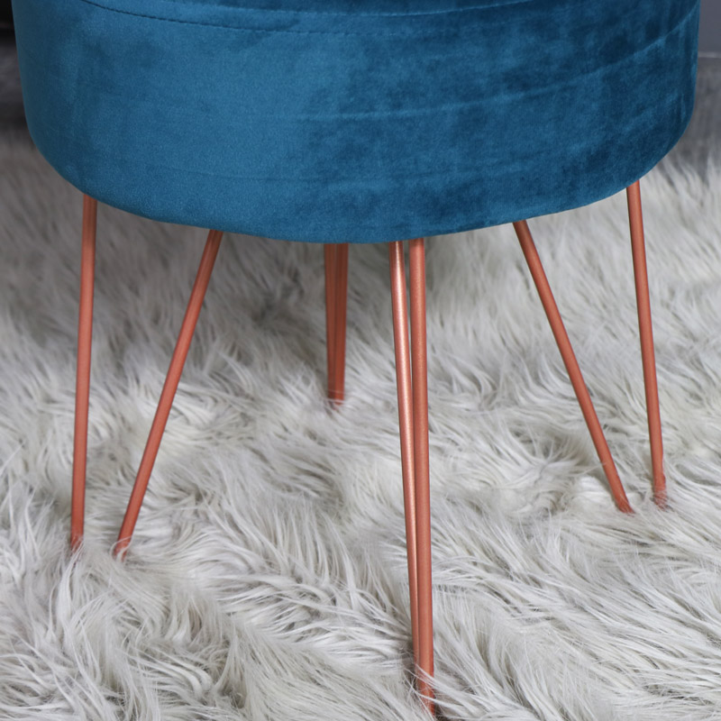 Teal Blue Velvet Upholstered Stool