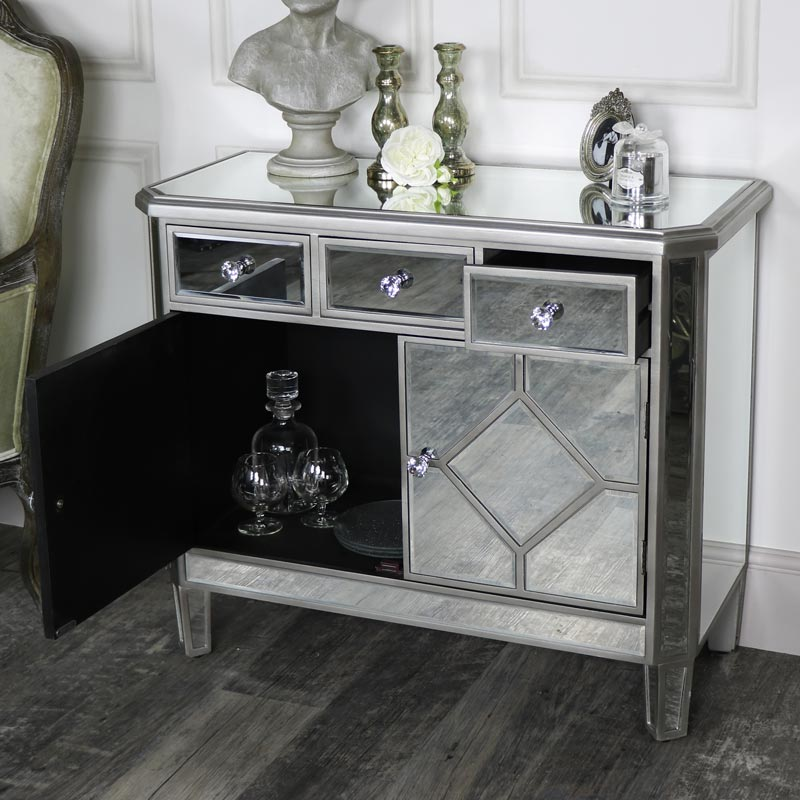 The Angelina Range - Mirrored Three Drawer Over Two Doors Chest