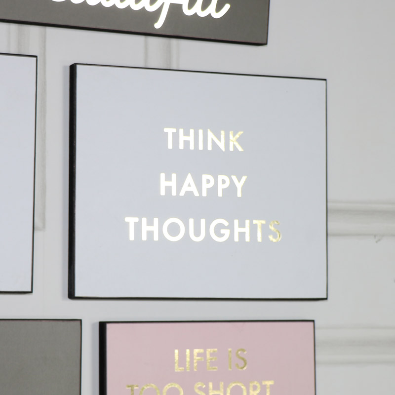 """Think Happy Thoughts"" White and Gold Wall Plaque"