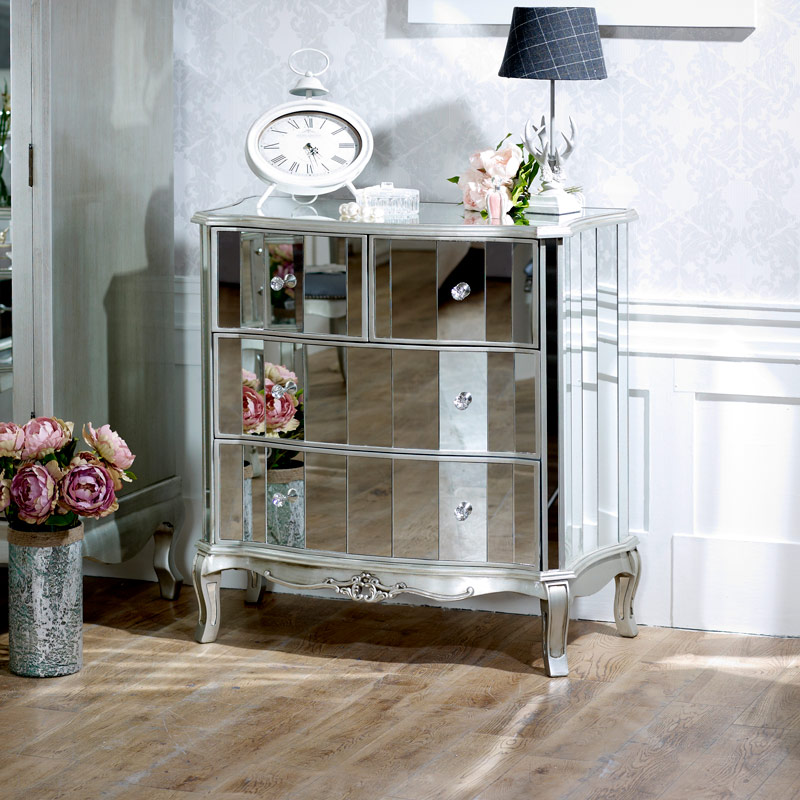 Tiffany Range - 4 Drawer Mirrored Chest of Drawers