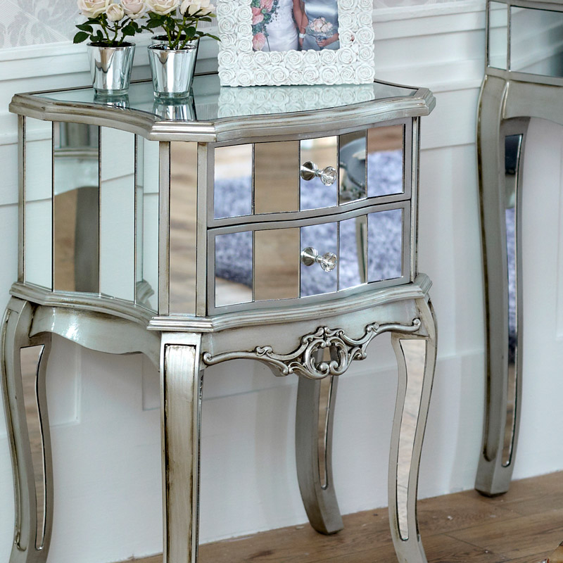 Tiffany Range - Mirrored 2 drawer bedside table